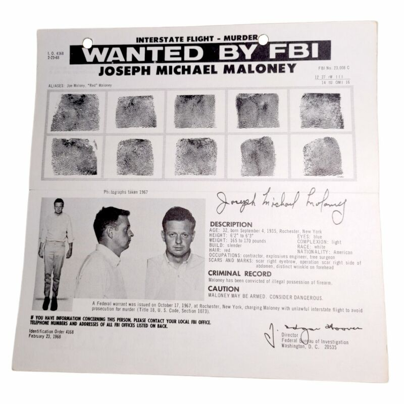 AUTHENTIC Vintage 1968 FBI WANTED POSTER for MURDER- Joseph Michael Maloney