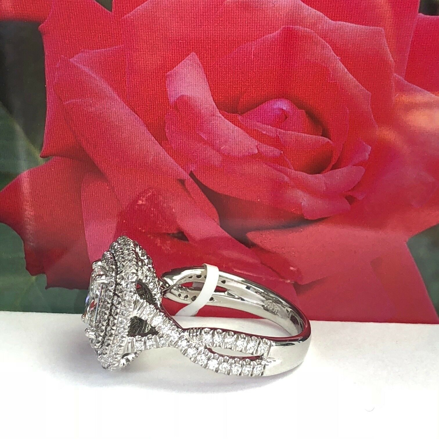 GIA Certified 2.18Ct F-SI1 Radiant Cut Diamond Engagement Infinity Ring 18k Gold 2