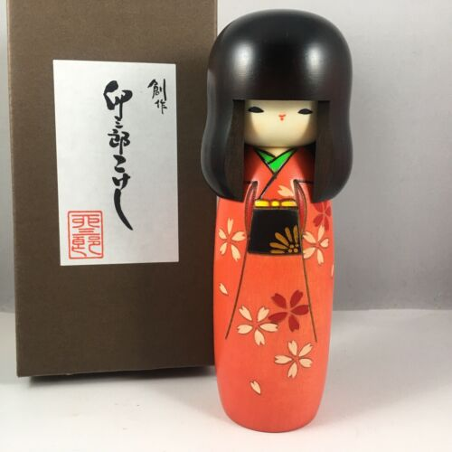 "Usaburo Japanese KOKESHI Wooden Doll 6""H Girl Red Kosakura Sakura Made in Japan"