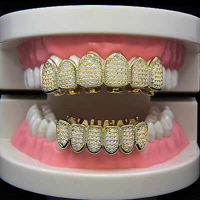 14K Gold Plated Custom Slugs Fully CZ Top Bottom GRILLZ Teeth Mouth Grills Set