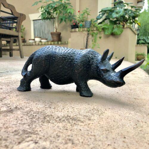 Vintage Hand Carved Wooden African Rhinoceros Sculpture/Figure