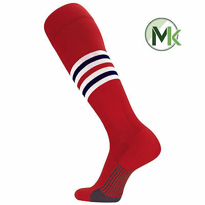 TCK Elite Dugout St Louis Pattern I Red White Navy Striped Long - Red And White Long Socks