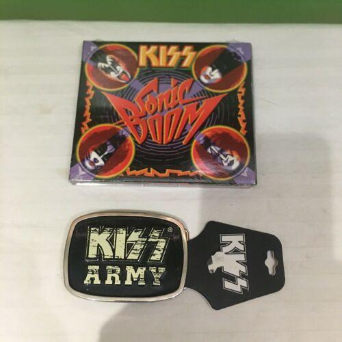 KISS LOT NEW SONIC BOOM 2 CD + 1 DVD - NEW RARE KISS ARMY BELT BUCKLE PIN CARD