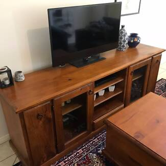 Solid wood entertainment unit.
