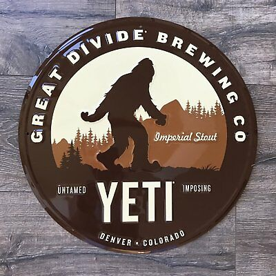 Great Divide Brewing Co Yeti Tin Tacker Metal Beer Sign