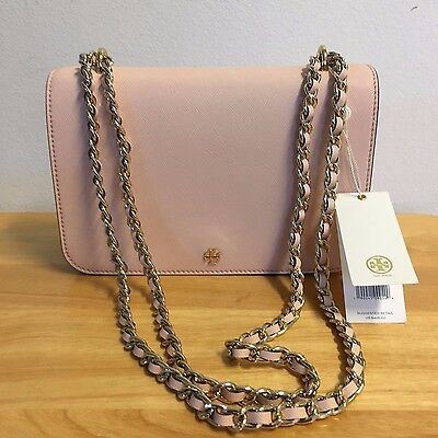 New Authentic Tory Burch Robinson Pale Apricot Leather Shoulder Bag 11169702