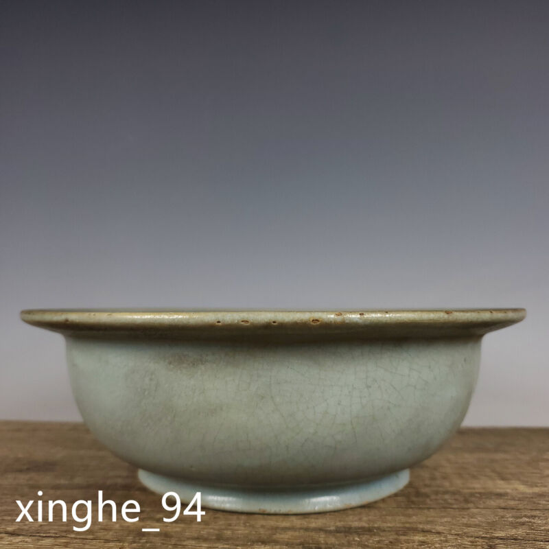 "8.7"" Song dynasty Porcelain Ru kiln museum mark Ice crack Folding edge Flowerpot"