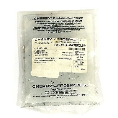 Cherry Textron Cherrymax Blind Rivet Cr7310-5-03 Countersunk Head -pack Of 100