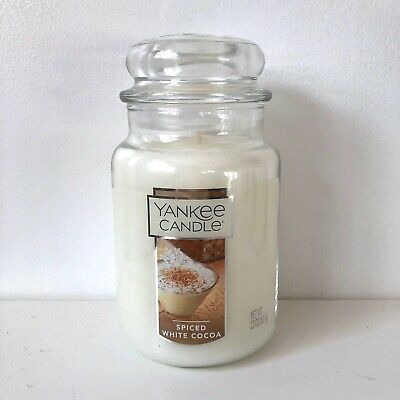 Yankee Candle ~ SPICED WHITE COCOA ~ 22oz Large Jar *Free Expedited Shipping*