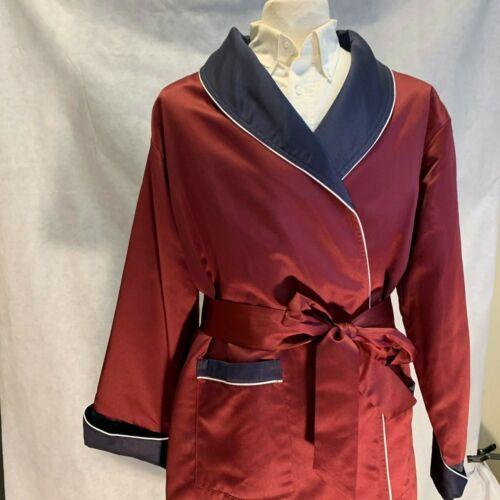 Mens Long Silk Satin Robe - Burgundy - Navy With White Piping