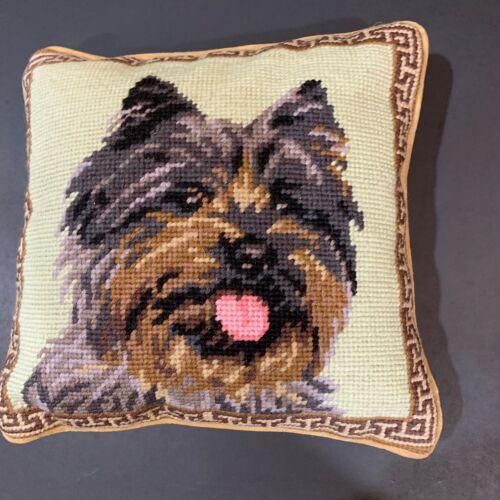 """Cairn Terrier  needlepoint 10"""" accent pillow"""