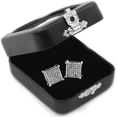 Men's Silver Princess Cut Square Cz Basket Screw Back Stud Earrings M E56