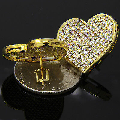 (Hip Hop Fully Iced Out Cz Large Heart Shaped Flat Screen Screw Back Stud Earring)