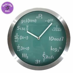 Mathematical Expression Wall Clock Classic Green Chalkboard Background AA Batt.
