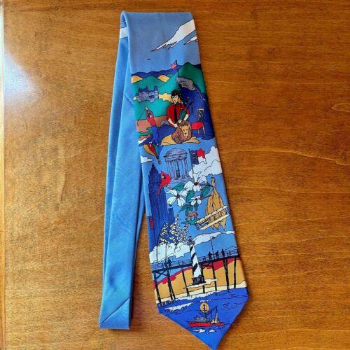 """Buffalo Bay 100% silk tie """"North Carolina"""" Golf Dogwood Tobacco Lighthouse USA"""