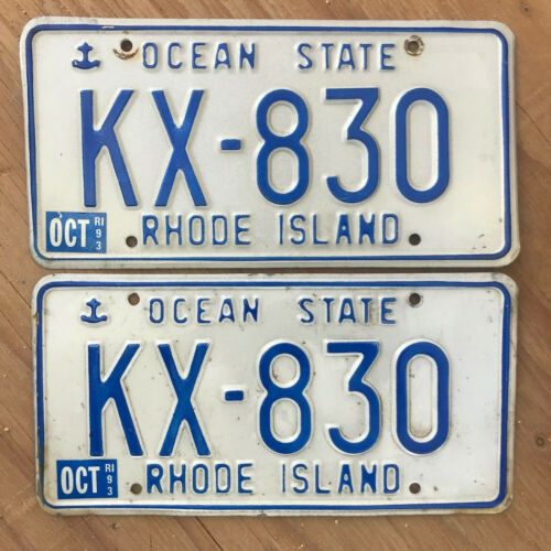 1986 Rhode Island license plate pair KX 830 1993