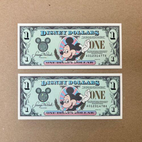 "1996 Lot of 2 Mickey Mouse Disney Dollars $1 (ONE) Walt Disney Series ""AA"""
