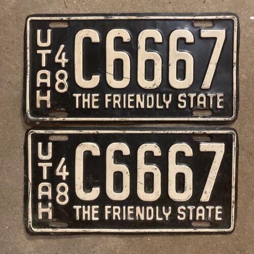 1948 Utah license plate pair C 6667 YOM DMV clear Ford Chevy Pontiac triple