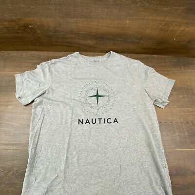 Nautica Sleepwear Compass Graphic Tee Men's Heather Grey T-Shirt Size L Bin-429