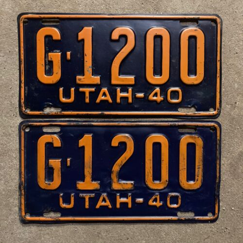 1940 Utah license plate pair G-1200 YOM DMV clear Ford Chevy Packard
