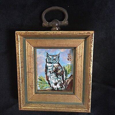 Vintage Miniature Owl Oil Painting.