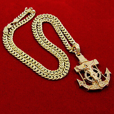 - Mens Gold Iced Out Cz Anchor Jesus Pendant 30