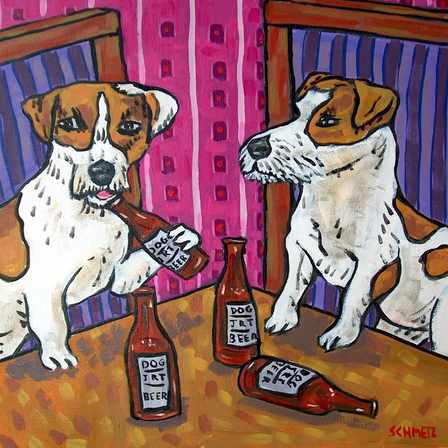JAck Russell Terrier playing VIOLIN dog art tile coaster gift modern folk
