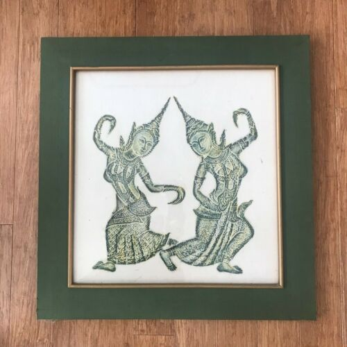REDUCED!  Outstanding Quality Vintage  Thai Temple Rubbing w/two Green Dancers