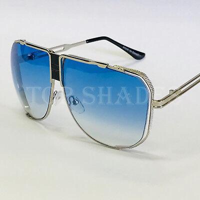 Fashion Mach Black Blue Gradient Lens Cascais Style Gold Shield Retro Sunglasses - Gradient Shield Lens Sunglasses