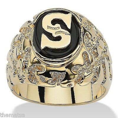 14K GOLD ONYX PERSONALIZED MENS  INITIAL NUGGET RING SIZE  8 9 10 11 12 13