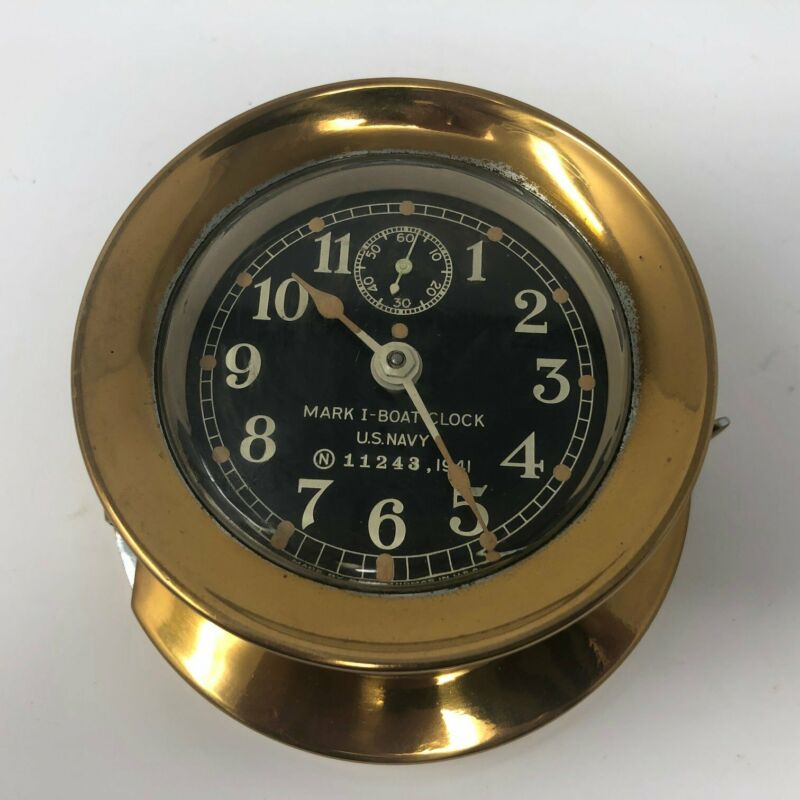 Boat Clock, Brass, Seth Thomas Co., MK I US Navy, 1941