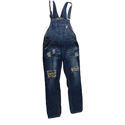 Vintage Overalls & Jumpsuits Machine Overalls Pants Distressed Size 30 L Destroyed Denim Dark Wash J3Y $32.99 AT vintagedancer.com