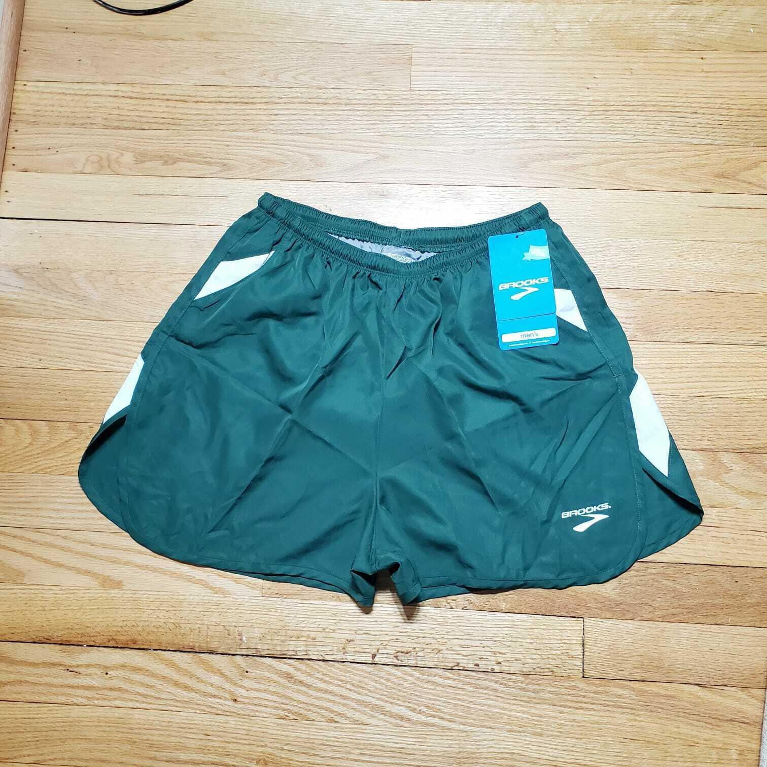 BROOKS Men's Running Black  Green Built-in Briefs Athletic