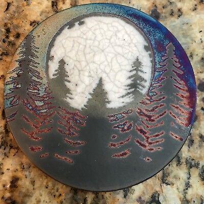 Fir tree Coaster Raku Pottery, handmade, handsigned - NEW