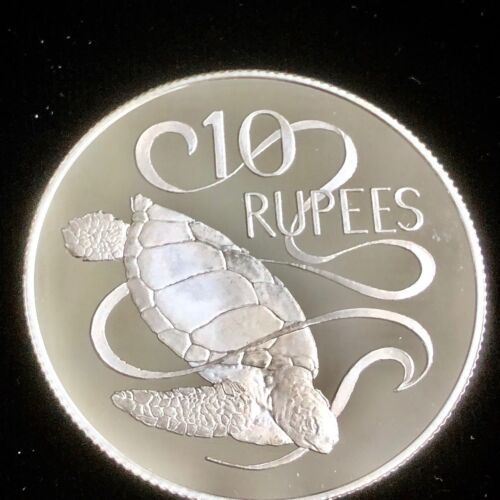 1974 Seychelles 10 Rupees Green Sea Turtle Silver Frosted Proof Queen Elizabeth