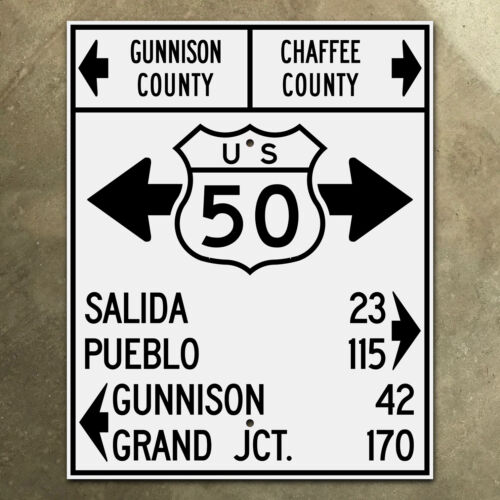 Colorado Monarch Pass US highway 50 shield guide marker road sign 1948