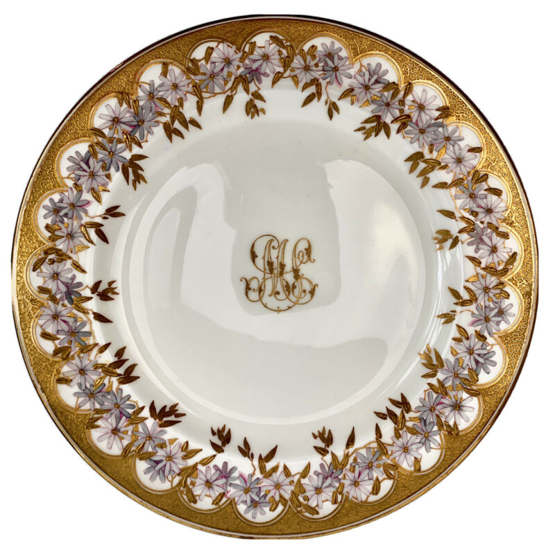 Antique Brownfield & Sons Dinner Plates (18 Plates) Raised Gild, Floral- England