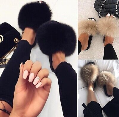 LADIES WOMENS FLUFFY FUR LUXURY SLIDES SLIDERS SUMMER SLIPPERS FLAT SANDALS SIZE