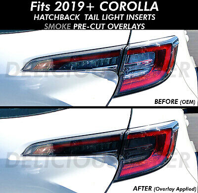 SMOKE Tail Light Rear Overlay PreCut Tint Vinyl For 19+ Corolla Hatchback smoked