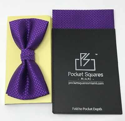 Mens Pocket Square Handkerchief Pre Folded With Matching Bow Tie Combo For Party