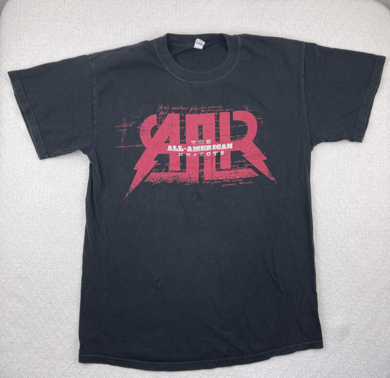ALL AMERICAN REJECTS I Wanna Rock 2009 Tour Graphic Black T-Shirt Size M ECU