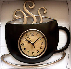 IBD STEAMING HOT CUP OF COFFEE,DECORATIVE WALL CLOCK,QUARTZ MOVEMENT,BROWN,NEW