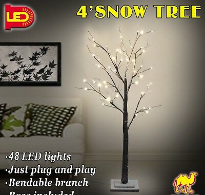 W/ LEDs Snow Lighted Tree 4/6ft Tall Flake Light Warm White Indoor&Outdoor Decor