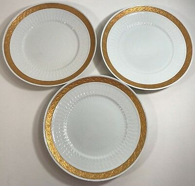 Royal Copenhagen Fan Service Gold 3 Dinner Plates 414 11519 Excellent