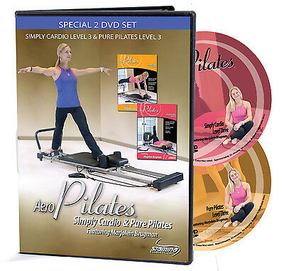 AeroPilates 2 DVD Workout Set w/Marjolein Brugman, Level 3 New 05-9125, 05-9127D