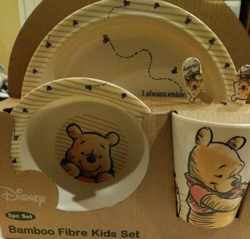 DISNEY Winnie the Pooh 5pc Bamboo Fibre Bambooware Kids Dish Set NEW