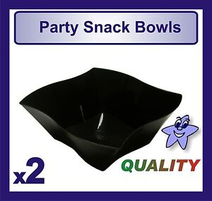 2 x Quality Large Black Plastic Party Snack Bowls 8.5
