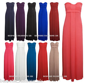 WOMENS-FULL-LENGTH-BANDEAU-LADIES-KNOT-MAXI-DRESS-IN-ALL-COLOURS-SIZE-S-M-M-L