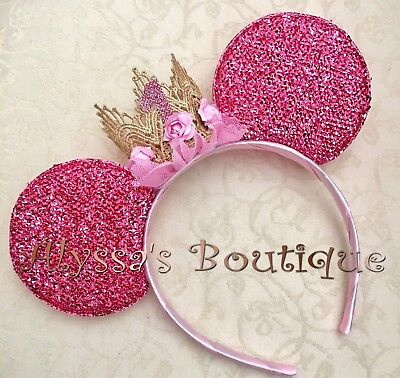 Minnie Mouse Birthday Ears Headband Gold Lace Crown Pink Flower First Birthday