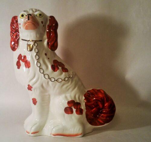 ENGLISH SETTER vtg mantle statue gold chain ceramic stafforshire dog figurine